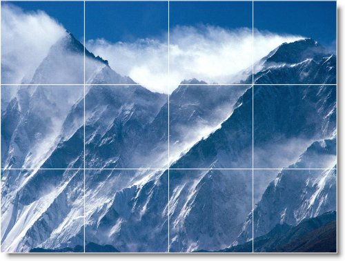 MOUNTAIN CUADRO TILE MURAL M047  36X 48PULGADAS DE PARED CON (12) 12X 12AZULEJOS DE CERAMICA
