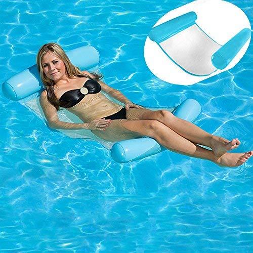 HomeYoo WWasserhängematte, Ultrabequeme Wasser-Hängematte, Aufblasbares Kopf- & Fußteil Pool Hängematte Wasser Luftmatratze Schwimmliege Wasserliege, Swimmingpool luftbett, Frühlings Floss (Blau)