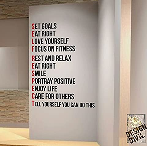 SELF RESPECT Gym Wall Decal Motivational Quote-Health and Fitness Spinning Kettlebell Crossfit Workout Boxing UFC MMA