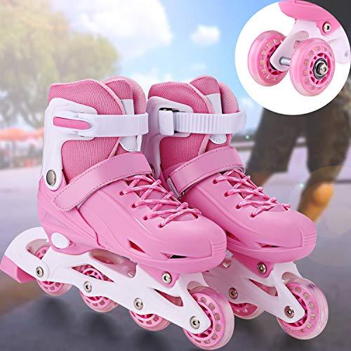Inline Skates & Kinder Schlittschuh Roller Blades Größe Verstellbar Rollschuhe mit Mesh atmungsaktive Inliner für Jungen/Mädchen/Jugendliche (Pink, EU 35-38)