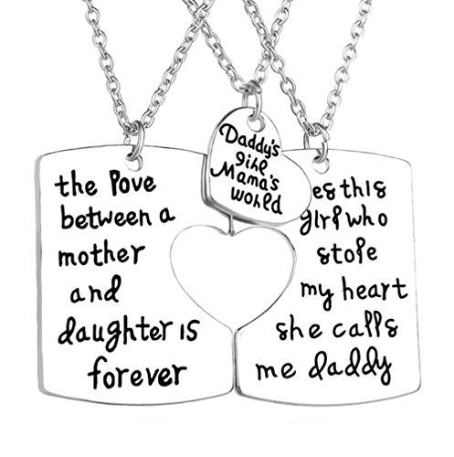 gudeke 3Stück Anhänger Halskette Set DADDY 'S GIRL Mommy 's World Mutter Tochter vater Familie Schmuck Halskette - 3 Mutter-töchter-halskette, Stück