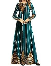 Qianliniuinc Abiti Elegante Donna Ricamo Gonna- Inverno Manica Lunga Abaya  Donna Islamico Caldo Musulmano Abbigliamento cbdcecaba31