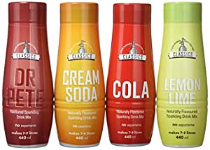 SodaStream Classics Mixed Pack with Cola, Dr Pete, Cream Soda and Lemon Lime Sparkling Drink Mix  - Pack of 4