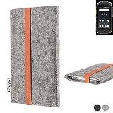 flat.design Handy Hülle Coimbra für Ruggear RG725 - Schutz Case Tasche Filz Made in Germany hellgrau orange