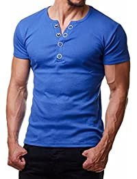 8ec3b420db30 KEERADS Mens Fashion Casual Short Sleeve Slim V Neck Button Tee Pullover T  Shirts (UK