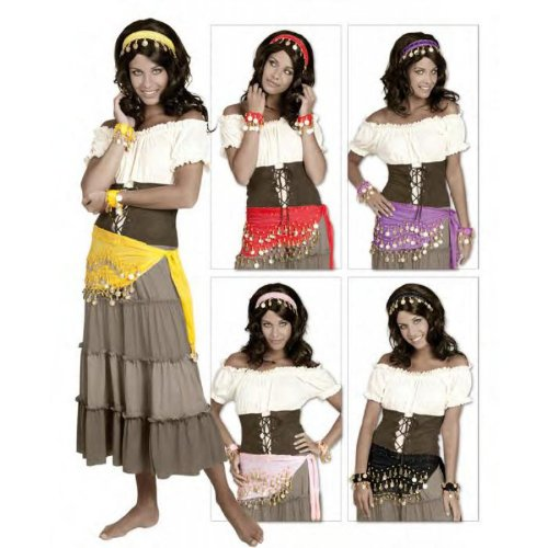 Zigeunerin Set Gipsy Huftentuch Stirnband Fasching schwarz (Gipsy Kostüm)
