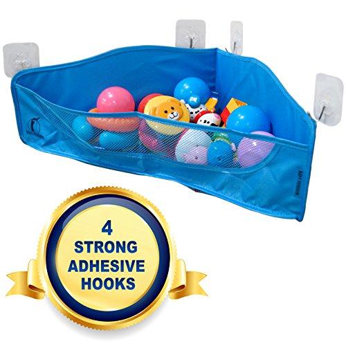 Badespielzeug Aufbewahrung - 4 Starke Stücke Haken - Badewannen Spielzeugnetz Organizer - Ecke Dusche Caddy Hängetasche für Kinder und Kleinkinder - Badezimmerkorb für Babys Jungen und Mädchen (Zurück Caddie)