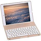 Bluetooth Keyboard Case For 2017 New iPad 9.7 inch , Durwyn® LED 7 Colors Backlit Wireless Bluetooth Keyboard , Back Hard Folio Case Cover , Ultra Slim ,Aluminium Alloy And Auto Sleep / Wake ( Gold )
