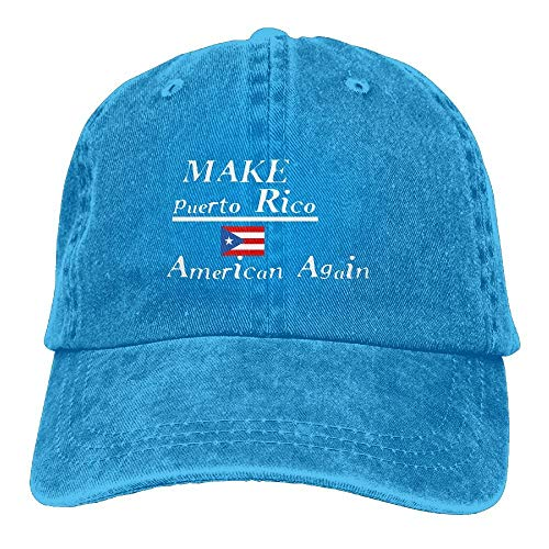 Unisex Make Puerto Rico American Again Classic Washed Dyed Cotton Solid Color Baseball Cap One Size (Rico Hat Puerto World Classic)