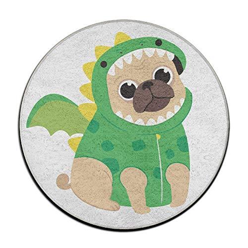 yting PJO6mat Mops Hund trägt einen Drachen Kostüm Auto Antislip Fußmatte Bad Teppich Gummi waschbar Matten 40x60 cm