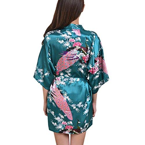 Femme Paon Fleur Luxe Soyeux Satin Soie Kimono Peignoir Pyjama Chemise Cardigan Robe Nightgown Nuisette Chemise Dames VÊTement de Nuit/de Bain/de Chambre, 10+ Couleur Facultative - Short Style Dark Green