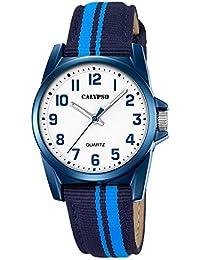 Calypso Montre enfant Junior Collection analogique Quartz cuir textile bleu clair bleu foncé UK5707/6