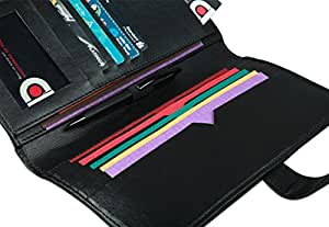 COI Expendable Leatherite Cheque Book Holder/Document Holder (Black)