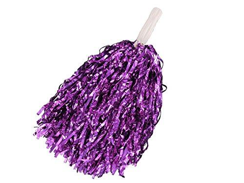 1 Stk. Alsino Metallic Schimmer Pompom Cheerleader alle Farben (lila) Cheerleader Glitzer