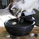 Cat Water Fountain Ultra-Quiet Automatic Circulation Pet Drinking Fountain for Cats & Small Dogs Indoor Outdoor Use 1.0L (Color : Black)