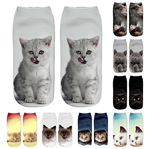 Qlan Women's 3D Cat Printed Funny Casual Crazy Cute Amazing Novelty Print Ankle Socks