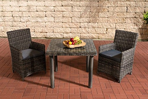 Gartenmöbel, Gartenmöbel-Set, Sitzgruppe Dorado K100, grau-meliert / eisen-grau, Polyrattan-Aluminium-Gestell, Gartengarnitur, Sitzgarnitur.