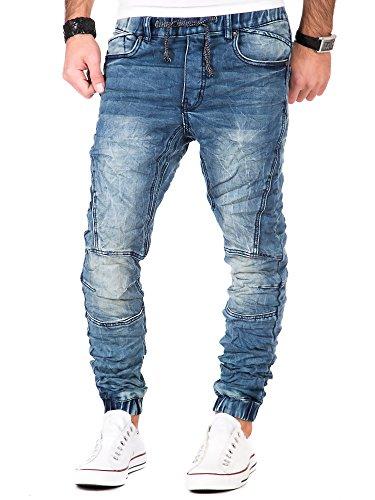 Jogg Jeans Herren Hose Denim Chino Herrenjeans Clubwear Blau