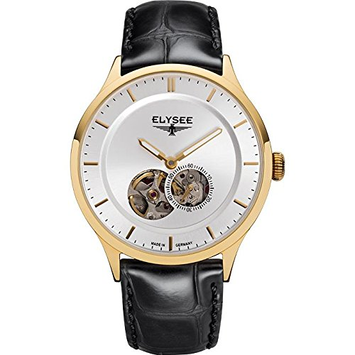 ELYSEE Men's Nestor 40mm Black Leather Band Gold Plated Case Automatic Silver-Tone Dial Analog Watch 15102