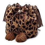 WSDF Damen Winter-Handtasche aus Kunstfell, weich, flauschig, Pompon, Schultertasche, mit Kordelzug, braun (Leopardenmuster), Free Size
