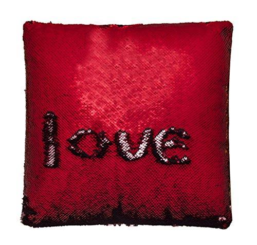 Ataya Pailletten Kissen mit Einsatz, zweifarbig Reversible dekorative Meerjungfrau Kissen, tolles Geschenk, 40cmx40cm Quadratisch -