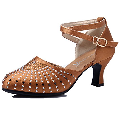 DGSA Latin Dance Shoe_Diamond Latin Dance Shoe weiblichen stilvolle Wasser bohren Gummisohle Blau