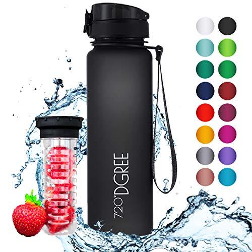 """720°DGREE Trinkflasche \""""uberBottle\"""" - 1 Liter, 1000ml, Schwarz   Neuartige Tritan Wasser-Flasche   Water Bottle BPA Frei   Ideale Sportflasche für Kinder, Fitness, Fahrrad, Sport, Fussball"""