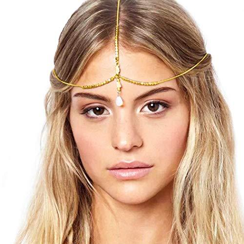 Fairvir Boho Nappa Testa Catene Gioielli Dainty Cristallo Fascia Moda Ciondolo Accessori per capelli per donne e ragazze (Oro)