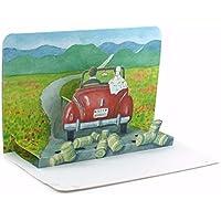 """'""""A en la luna de miel: alta calidad de Pop Up–Tarjeta de felicitación para bodas/3D Tarjeta de Plegable con una pareja, el en la luna de miel–comienza la divertido boda tarjeta o tarjeta de invitación para boda"""