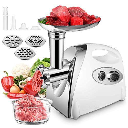 Weiß Fleischwolf Elektrischer Wurstmaschine Meat Grinder Wurstfüller Küche aid Zerkleinerer, mit Lochscheibe-Aufsatz Zubehör, mit Rückwärtsfunktion, Multifunktions Küchenmaschine