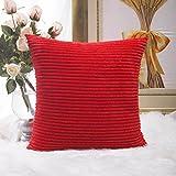 Home Brilliant - Federa decorativa per cuscino quadrato, federa a righe in velluto a coste, Tessuto, Red, 45 x 45 cm