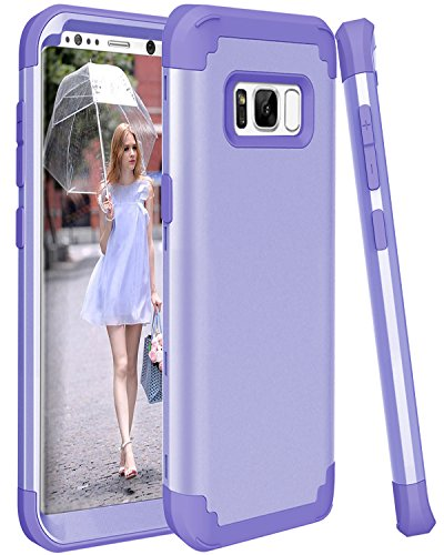 SAVYOU Galaxy S8Fall, 3in1stoßfest Drop-Protection Hard PC Soft Silikon Combo Hybrid Impact Defender Heavy Duty bchiea Schutzhülle Case Cover für Galaxy S8 Violett/Violett Hybrid-combo