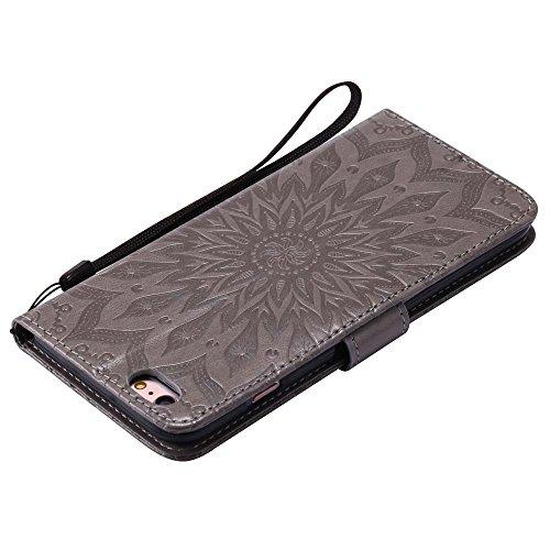 Custodia iPhone 6 Plus / 6S Plus, cmdkd Wallet Custodia Bumper per iPhone 6 Plus / 6S Plus. (Porpora) Grigio