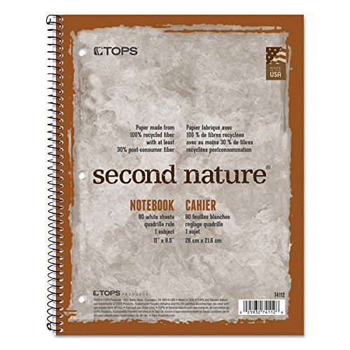 Second Nature Subject Wirebound Notebook, Quadrille Rule, Ltr, WE, 80-Sheet (Quadrille Notebook Ruled)
