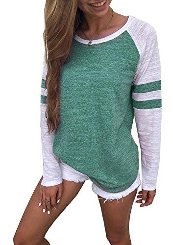 Hiistandd Damen Langarmshirt Farbblock Langarm T-Shirt Casual Rundhals Tunika Tops (Large, Grün)