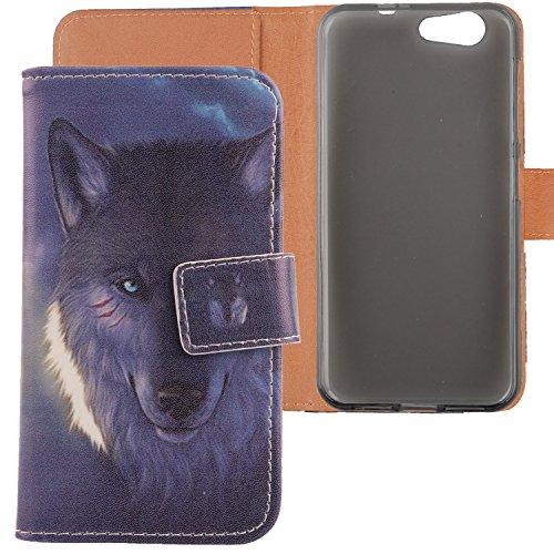 """Lankashi PU Flip Leder Tasche Hülle Case Cover Schutz Handy Etui Skin Für ZTE Blade A512 5.2"""" Wolf Design"""