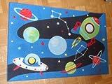 Associated Weavers Kinderteppich Teppich Kinderteppich Kinder Teppich Spielteppich Boys 01 Space Raumfahrt 80 x 120 cm ein muss für jeden Space Fan darf in keinem Kinderzimmer fehlen