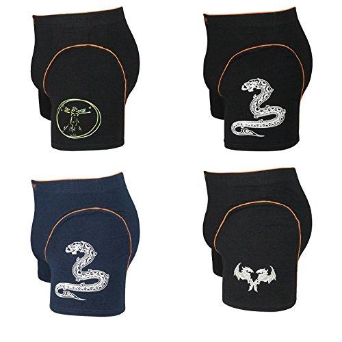 4er Pack Herren Retroshorts Boxershorts mit Motiv mehrfarbig M L XL oder XXL schwarz Motiv Mensch und Trible
