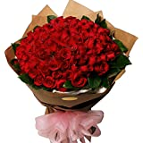 GoldenCart Garden Fresh PREMIUM FLOWERS Exoticly Packed to Convey that 'special feeling' (Extra Large Bouquet, Red)