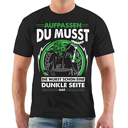 Männer und Herren T-Shirt Grillen - aufpassen du musst die Wurst Schon eine dunkle Seite hat! Größe S - 8XL (Tshirt Wurst)
