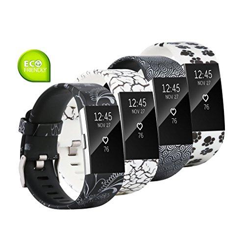 Fit-power Armbänder für Fitbit Charge 2, weich, verstellbar, für Sport und Freizeit, 2 Größen, Pack of 4C, S