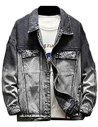 WQ&EnergyMen Men Gradient Ramp Classic-Fit Casual Slim Fit Denim Jacket Coat
