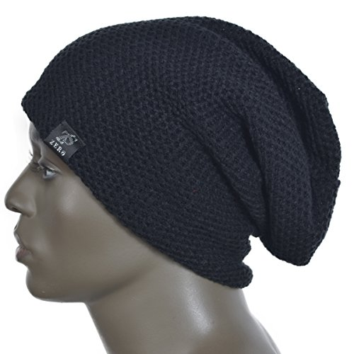 ca2fee81a0d Zero seven 0713524288525 Zands Men Slouch Beanie Leather Patch Long Skullcap  Skull Ski Hat- Price in India