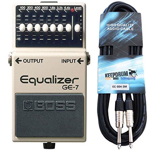 Boss GE-7 graphischer Equalizer für Gitarre + keepdrum Gitarrenkabel