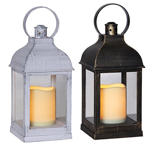Lanterne Petit Blanc et Noir avec bougie LED Cire et minuteur 23 cm Weiß