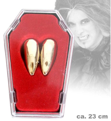 FASCHING 58835 Vampir-Zähne gold i.Sarg, Dracula Gebiss (Zähne Vampir Gold)