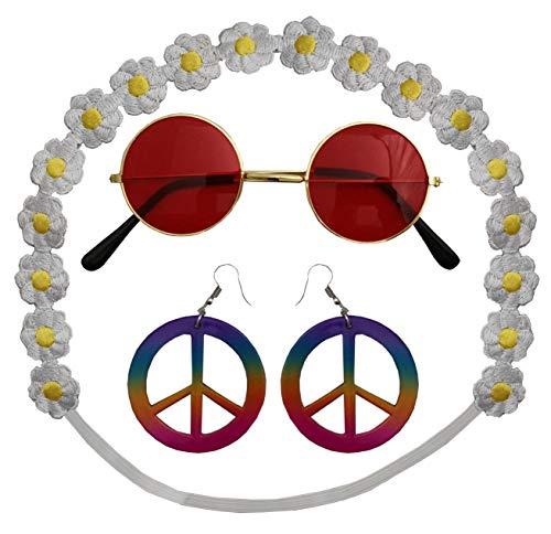 Foxxeo Hippie Schmuck Set mit Brille, Peace Ohrringen und Blumen Haarband für Fasching Karneval 70er Jahre Damen Party