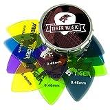 Tiger Guitar Plectrums with Pick Tin - 12 Gel 0.46mm