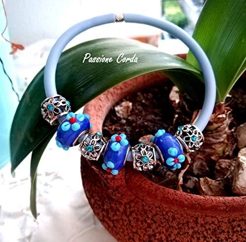 Bracciale AZZURRO CIELO a ciondoli mod. pandora, con murrine a fiori Bracciale Elastico con chiusura a scomparsa,