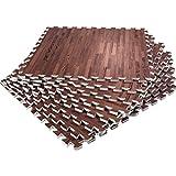 GORILLA SPORTS Schutzmatten-Set – 8 Puzzle-Matten/Sport-Matten 60 x 60 x 1,2 cm (Holzoptik dunkel)